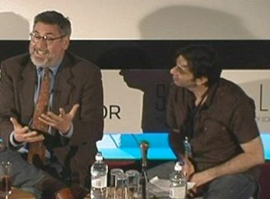 An American Cult Filmmaker in London: John Landis on stage with Cine-Excess Organiser Xavier Mendik addresses the conference audience.