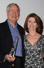 Roger Corman receiving his Cine-Excess Lifetime Achievement Award from Jane Asher.