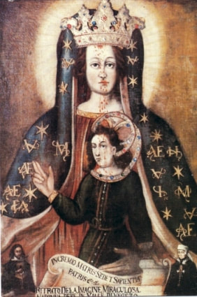 Nineteenth-century reproduction of the icon of the Madonna del Sangue venerated in the village of Re (Val Vigezzo), Italy