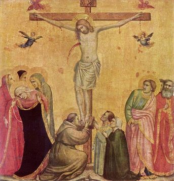 The crucifixion, oil on wood by Giotto (1266-1337), Alte Pinakothek, Munich, Germany